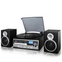 Trexonic 3-Speed Turntable With CD Player, FM Radio, Bluetooth, and More