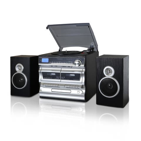 Trexonic 3-Speed Turntable With CD Player, Double Cassette Player, Bluetooth, FM Radio & USB/SD Recording - Black