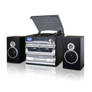 Trexonic 3 Speed Turntable With CD Player Double Cassette Bluetooth FM
