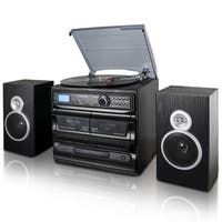 Trexonic 3-Speed Turntable With CD Player, Dual Cassette Player, BT, FM Radio & USB/SD Recording and Wired Shelf Speakers