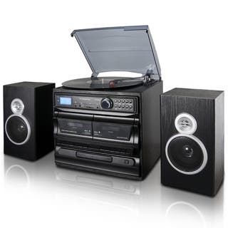 Trexonic 3 Speed Turntable With CD Player Dual Cassette BT FM