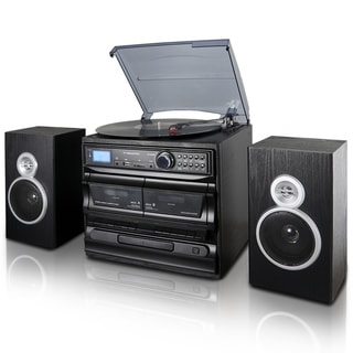 Link to Trexonic 3-Speed Turntable With CD Player, Dual Cassette Player, BT, FM Radio & USB/SD Recording and Wired Shelf Speakers Similar Items in Home Theater
