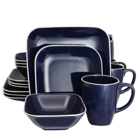 Gibson Home Square Dance 16-Piece Dinnerware Set, Cobalt