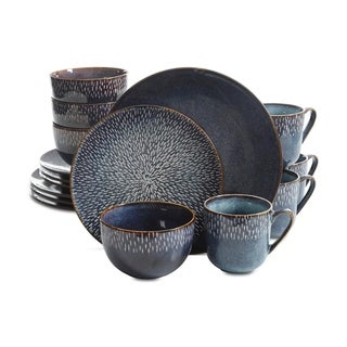 Gibson Elite Matisse 16-Piece Double Bowl Dinnerware Set, Cobalt