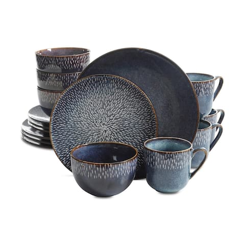 Gibson Elite Matisse 16-Piece Double Bowl Dinnerware Set, Cobalt