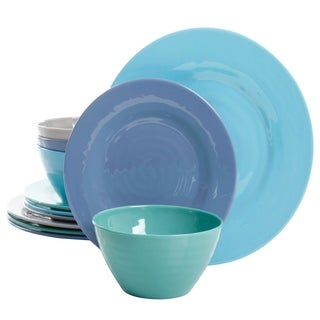 Gibson Home Brist 12 Piece Dinnerware Set in 4 Assorted Colors