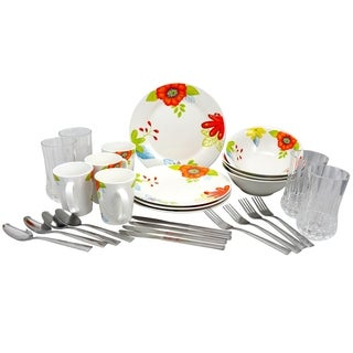 Gibson Rennes Verdant 28 Piece Dinnerware Combo Set in Floral Print