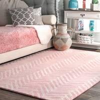 """nuLOOM Pink Handmade Wool Viga Chevron Medallion Area Rug - 7'6"""" x 9'6"""""""