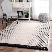 """nuLOOM Ivory Handmade Flatweave Wool Reversible Tassel Area Rug - 8'6"""" x 11'6"""""""