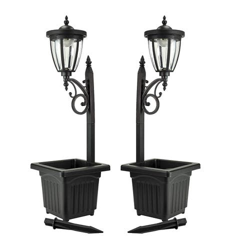 Sun Ray Kambria Multi Function Solar Lamp Post And Planter Set Of 2