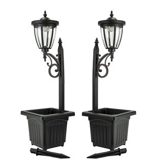 Sun-Ray Kambria Multi Function Solar Lamp Post and Planter, Two Pack