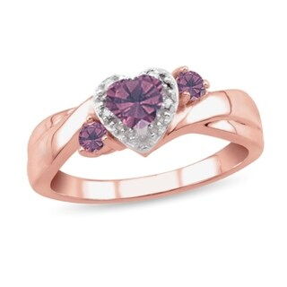 10K Rose Gold Genuine Birthstone Ring with Diamond Accent