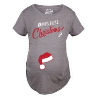 02777a29 Shop Bumps First Christmas Maternity TShirt Funny Holiday Party Tee ...