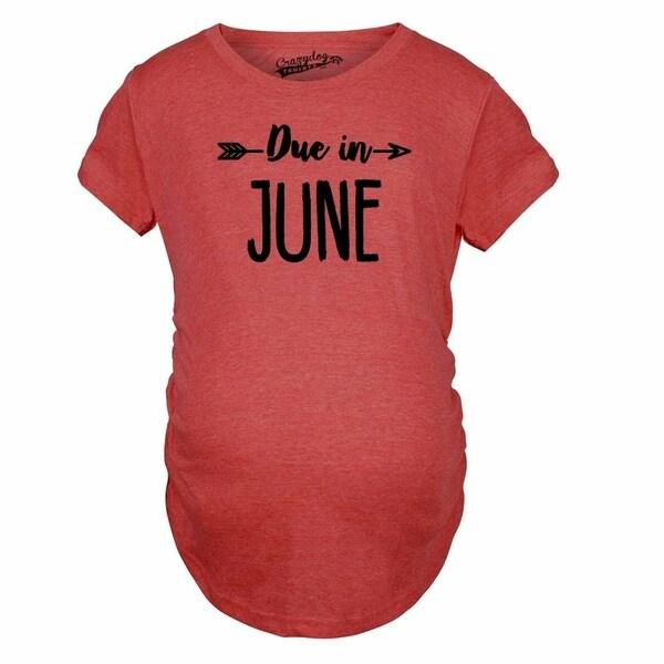 19616bd0e0da4 Maternity Due In June Tshirt Baby Shower Announcement Pregnancy Tee