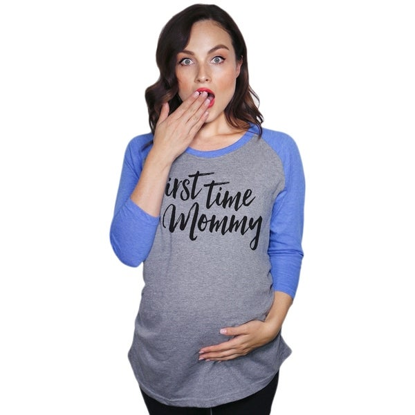 e82e679a0f5f1 Shop Maternity Raglan First Time Mommy Cute Funny Pregnancy Baseball Tee -  On Sale - Free Shipping On Orders Over $45 - Overstock - 23587604