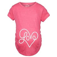 Maternity Love Script Heart Tshirt Cute Adorable Pregnancy Tee