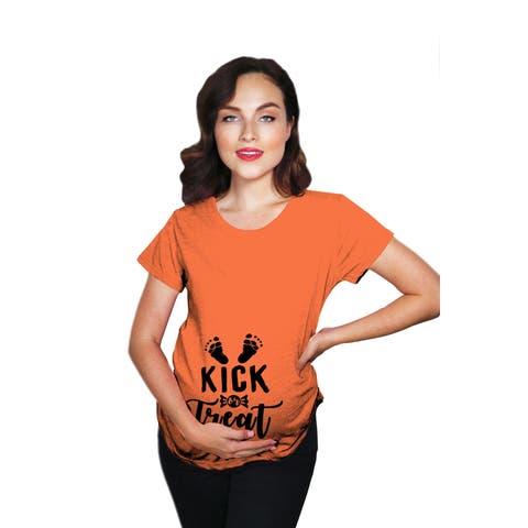 Maternity Kick Or Treat Tshirt Funny Halloween Pregnancy Announcment