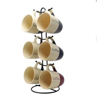 Elama Coffee House 6-Piece 12 oz. Mug Set with Stand, Assorted Colors