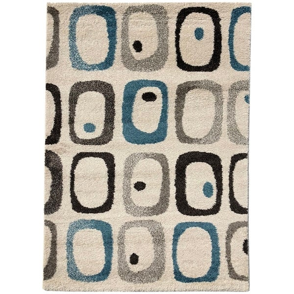 "Geometric Trellis Pattern Area Rugs, Pierre Cardin Collection - 5'3"" x 7'7"""