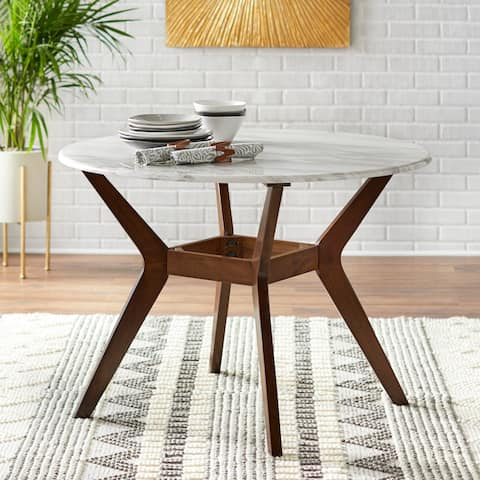 Carson Carrington Tornio 42 Inch Round Dining Table Brown White