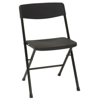COSCO Black Resin Folding Chair with Molded Seat and Back- 12 Pack