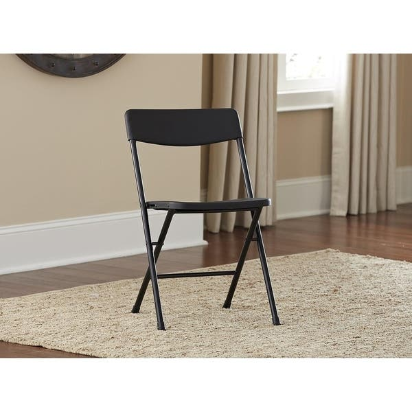 Brilliant Shop Cosco Black Resin Folding Chair With Molded Seat And Creativecarmelina Interior Chair Design Creativecarmelinacom