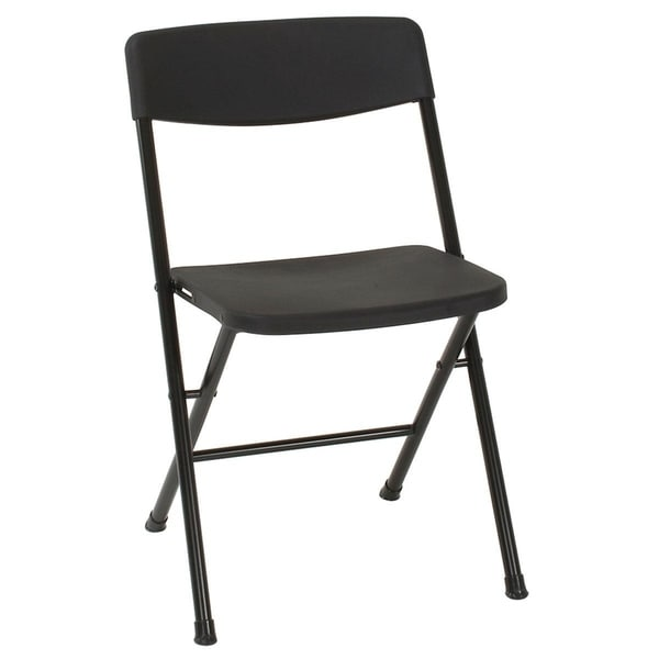 COSCO Black Resin Folding Chair with Molded Seat and Back - 8 Pack