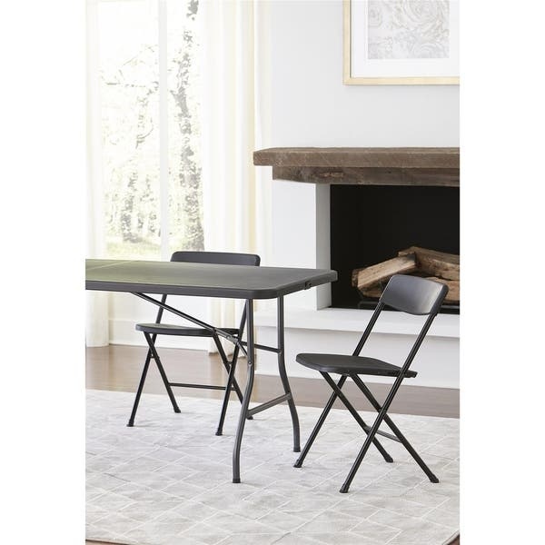 Stupendous Shop Cosco Black Resin Folding Chair With Molded Seat And Creativecarmelina Interior Chair Design Creativecarmelinacom