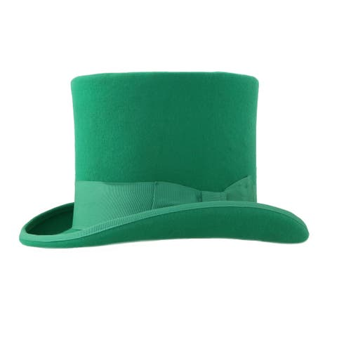 Ferrecci Mens Green Premium Wool Mad Hatter Steampunk Top Hat