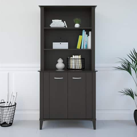 Avenue Greene Bowie Espresso Bookcase with Doors