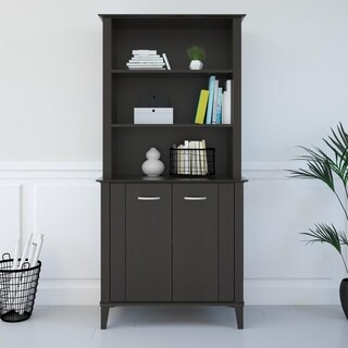 Avenue Greene Bowie Espresso Bookcase with Doors - N/A