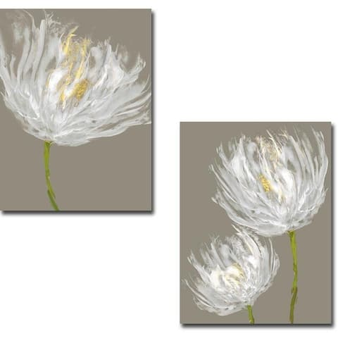 White Tulips I and II by Vanessa Austin 2-piece Gallery Wrapped Canvas Giclee Art Set (Ready to Hang)