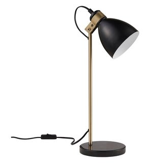 Versanora-Quincy Table Lamp wh/Black Marble Base-Black/Antique Brass