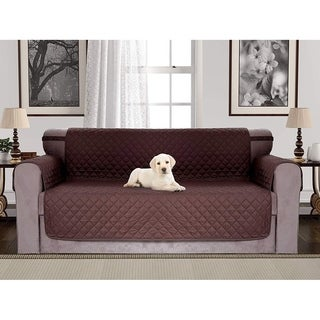 Chiara Rose Anti-Slip Quilted Reversible Pet Dog Sofa Cover with Arm-Rest Elastic Strap Slipcover Furniture Protector