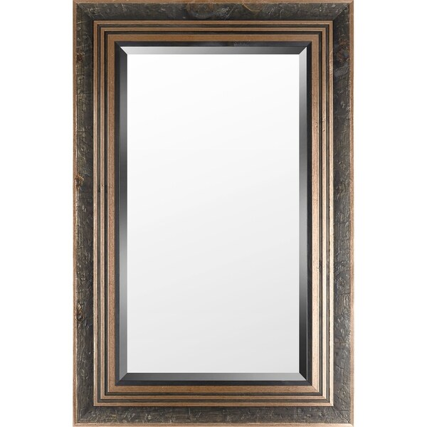 29.25x45.25 Gold Stucco Wood Bevel Mirror by Mirrorize Canada