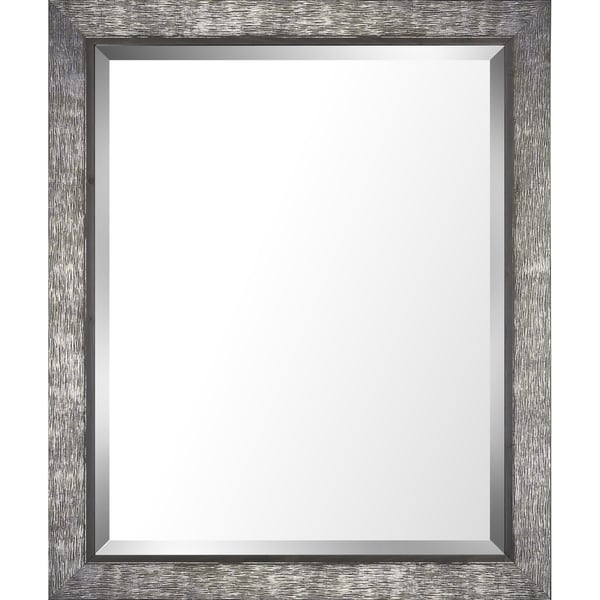 28.5x34.5 Silver & Gray Finish Real Wood Bevel Mirror by Mirrorize Canada - Grey