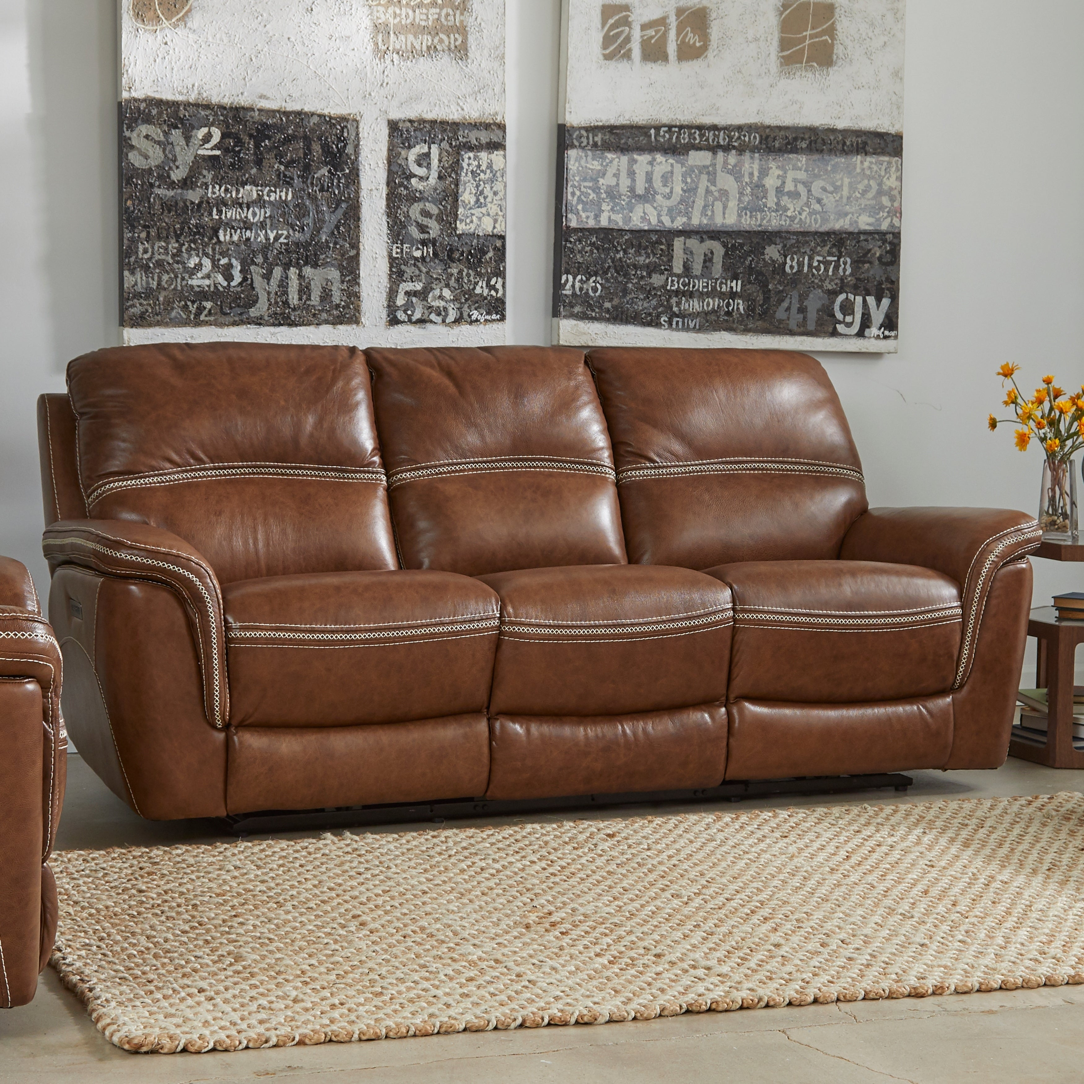 Mason Leather Reclining Sofa With Power Headrest And Lumbar Support 40 Inches High X 90 Inches Wide X 40 Inches Deep