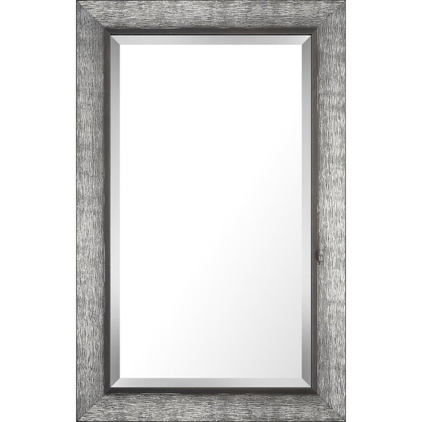 20.5x32.5 Silver & Gray Finish Real Wood Bevel Mirror by Mirrorize Canada - Grey
