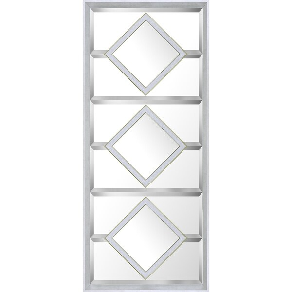 21.5x49.5 White Squares Designer Bevel Mirror by Mirrorize Canada
