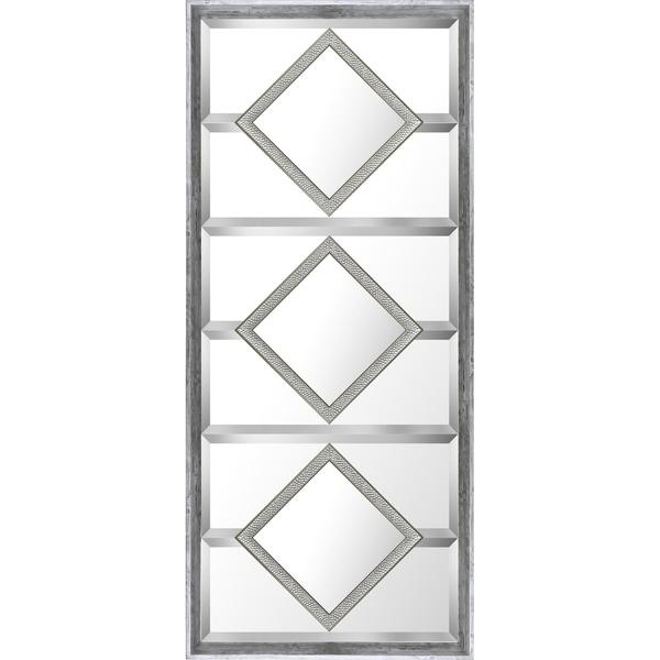 21.5x49.5 Silver Squares Designer Bevel Mirror by Mirrorize Canada