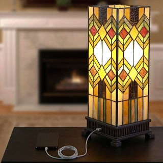 "17.25""H Richland USB Stained Glass Uplight"