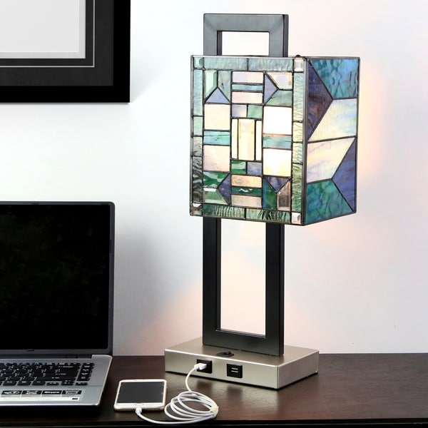 Shop 20 25 Quot H Daxton Usb Stained Glass Table Lamp On Sale