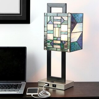 "20.25""H Daxton USB Stained Glass Table Lamp"