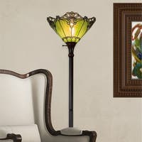 """70""""H Stained Glass Victorian Crystal Lace Floor Lamp"""