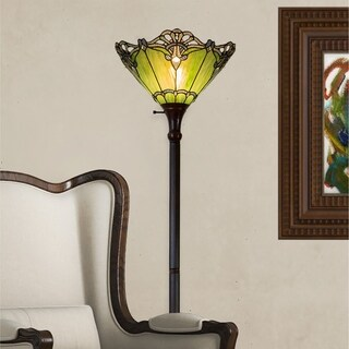"70""H Stained Glass Victorian Crystal Lace Floor Lamp"
