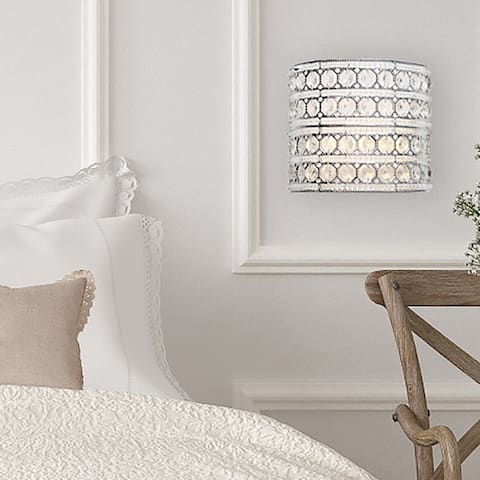 """Set-of-2 - 8""""H Crystal Glam Doll Cordless LED Wall Sconce - 9.125""""L x 4.75""""W x 8""""H"""