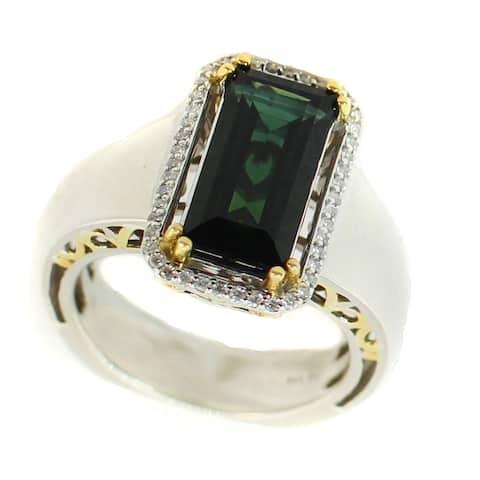 Gems en Vogue Palladium Silver Indicolite Tourmaline & Diamond Ring
