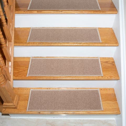"""Escalier Solid Beige Non-Slip Rubber Backing Stair Treads - 8.5"""" x 26"""" (set of 13)"""