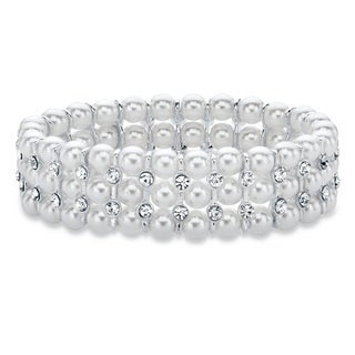 """Silver Tone Stretch Bracelet (16mm), Lucite and Crystal, 7"""""""