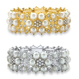 """2 Piece Stretch Bracelet (24mm), Lucite and Crystal, 7"""""""